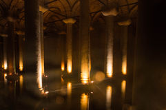 Cistern below Istanbul royalty free stock photo