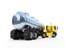 Cistern of big orange fuel tanker truck Stock Photos