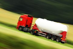 Cistern truck and speed Royalty Free Stock Photo