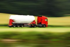 Cistern truck and speed Royalty Free Stock Photos
