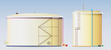Cisterne grezze e un serbatoio di acqua Immagine Stock Libera da Diritti