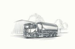 Cisternlastbilillustration Dragen hand, vektor, eps 10 vektor illustrationer