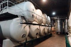 Cisterns in a wine cellar Stock Photos