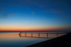 Cisza po tym jak zmierzch przy Vadum plażą w Salling, Dani zdjęcia stock