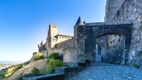 Cité de Carcassonne. Entrance to the Cité de Carcassonne with its famous towers and city walls Royalty Free Stock Photography