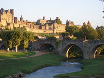 Cité de Carcassonne ( France ). View of the Cité de Carcassonne and the medieval bridge Stock Photo