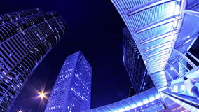 Cit Χονγκ Κονγκ νύχτα Timelapse. Σφιχτά να μεγεθύνει πυροβοληθείσα έξω. απόθεμα βίντεο