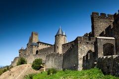 входной сигнал cit европы Франции замока carcassonne европа Стоковая Фотография RF