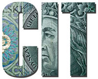 CIT. Corporate income tax. Inscription with polish banknote, 100 zloty pattern Royalty Free Stock Photography