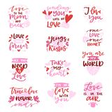 Citações adoráveis do iloveyou da rotulação da caligrafia bonita do vetor do amor com sinal do coração para o amante no cartão am Foto de Stock Royalty Free