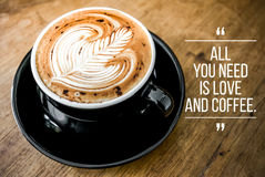 Citações com café Foto de Stock Royalty Free