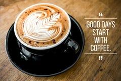 Citações com café Fotografia de Stock Royalty Free