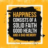 Citações da felicidade Cartaz inspirador tipográfico sobre o trabalho duramente Tipografia para a mensagem da boa vida, cópia, pa ilustração do vetor