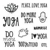 Citações da ioga Grupo de rotulação desenhada mão Imagem de Stock Royalty Free