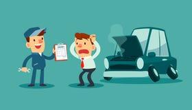 Citações da mostra do mecânico para o reparo do carro ao homem de negócios Fotos de Stock