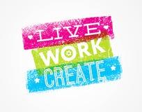 Citações da motivação de Live Work Create Art Vetora Foto de Stock Royalty Free