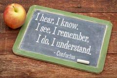 Citações de Confucius no balckboard Fotografia de Stock Royalty Free
