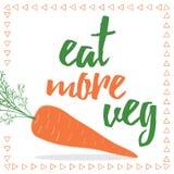 Citações do alimento Coma seus veggies Cartão orgânico da cenoura ilustração royalty free