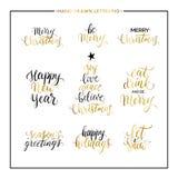 Citações do ouro do Natal e do ano novo feliz Imagens de Stock Royalty Free