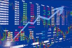 Citações do preço de mercado conservado em estoque, de teste padrão de preço gráfico e algum indicato Foto de Stock Royalty Free