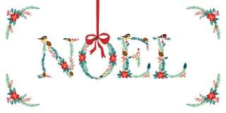 Citações florais rústicas tiradas do Natal do vintage mão bonito ilustração royalty free