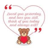 Citações inspiradas do amor Amado lhe ontem, e ame-o stil Fotografia de Stock