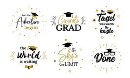Citações inspiradas do partido do graduado aos graduados do congrat ilustração royalty free