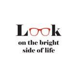 Citações inspiradores da arte da parede sobre a vista na parte positiva de vida ilustração stock