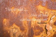 Citações inspiradores de Edison Fotografia de Stock