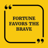 Citações inspiradores A fortuna favorece o corajoso Foto de Stock Royalty Free