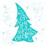 Citações inspiradores imprimíveis da rotulação do Natal do vetor em uma árvore de Natal com flocos de neve e serpentina Pode ser  Foto de Stock