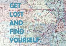 Citações inspiradores no mapa Fotografia de Stock Royalty Free