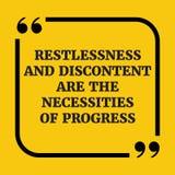 Citações inspiradores O desassossego e o descontentamento são o necessi Foto de Stock Royalty Free