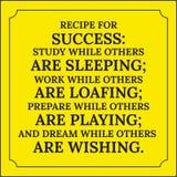 Citações inspiradores Receita para o sucesso Fotografia de Stock Royalty Free