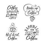 Citações relativas café tiradas mão ajustadas Ilustração do vintage do vetor Imagens de Stock Royalty Free