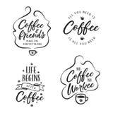 Citações relativas café tiradas mão ajustadas Ilustração do vintage do vetor Fotos de Stock