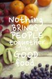 Citações saudáveis comer Imagem de Stock