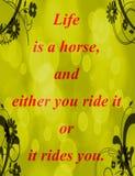 Citações sobre a vida: A vida é um cavalo, e ou você monta-o ou monta-o Foto de Stock Royalty Free