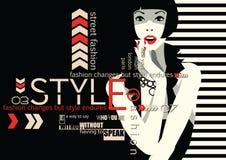 Cita de la moda con la mujer stock de ilustración