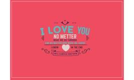 Cita de la tipografía del amor Imagen de archivo