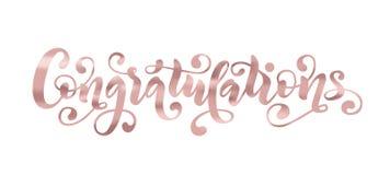 Cita de las letras de la mano de la enhorabuena Palabra moderna dibujada mano de los congrats del efecto de la hoja de Rose Gold  Imagenes de archivo
