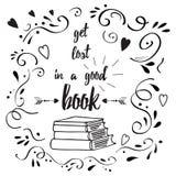 Cita de motivación sobre el libro y leída ilustración del vector