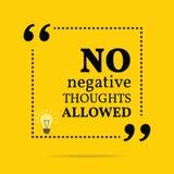 Cita de motivación inspirada Ningunos pensamientos negativos permitidos Imagen de archivo libre de regalías