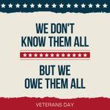 Cita del vector no los conocemos todos Cartel del día de veteranos Imagenes de archivo