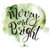 Cita dibujada mano de las letras de la Navidad en fondo colorido del chapoteo de la acuarela Impresión para la tarjeta y las impr stock de ilustración