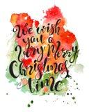 Cita dibujada mano de las letras de la Navidad en fondo colorido del chapoteo de la acuarela Impresión para la tarjeta y las impr Imagen de archivo libre de regalías