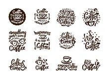 Cita exhausta del café de la mano del vector que pone letras a la composición del ejemplo con símbolo de la taza stock de ilustración