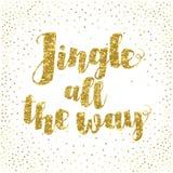 Cita inspirada del villancico de la Navidad del tintineo hasta el final Letras elegantes de la mano de la tinta aisladas en el fo Imagen de archivo