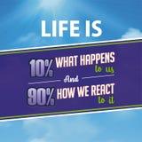 Cita inspirada La vida es el 10% qu? sucede nosotros y al 90% c?mo reaccionamos a ?l stock de ilustración