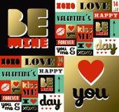 Cita retra de la etiqueta del modelo del oro del día de tarjetas del día de San Valentín libre illustration